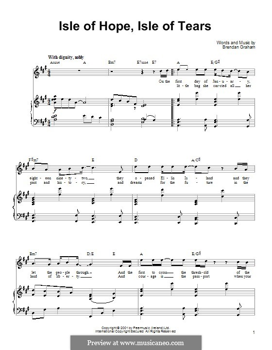 Isle of Hope, Isle of Tears: For voice and piano (or guitar) by Brendan Graham