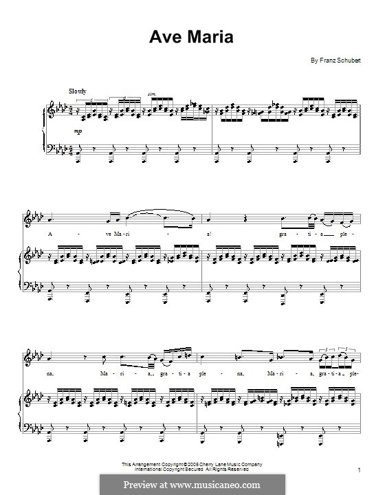 Ave Maria (Printable Scores), D.839 Op.52 No.6: For voice and piano by Franz Schubert