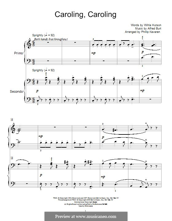 Caroling, Caroling (Nat King Cole): For piano four hands by Alfred Burt
