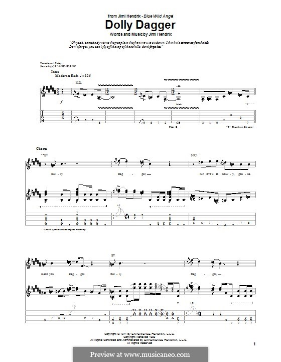 Dolly Dagger: For guitar with tab by Jimi Hendrix