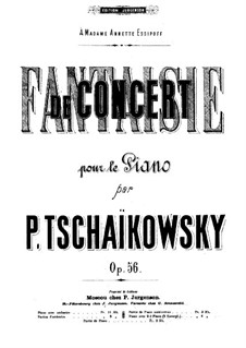 Concert Fantasia for Piano and Orchestra, TH 61 Op.56: Arrangement for two pianos by Pyotr Tchaikovsky