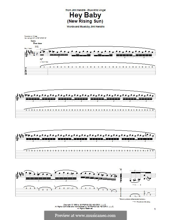 Hey Baby (New Rising Sun): For guitar with tab by Jimi Hendrix
