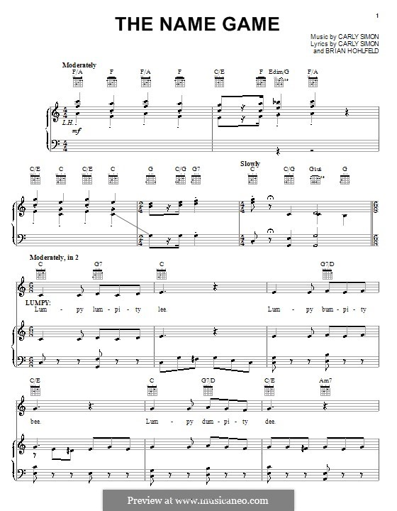 The Name Game (from Pooh's Heffalump Movie): For voice and piano (or guitar) by Brian Hohlfeld