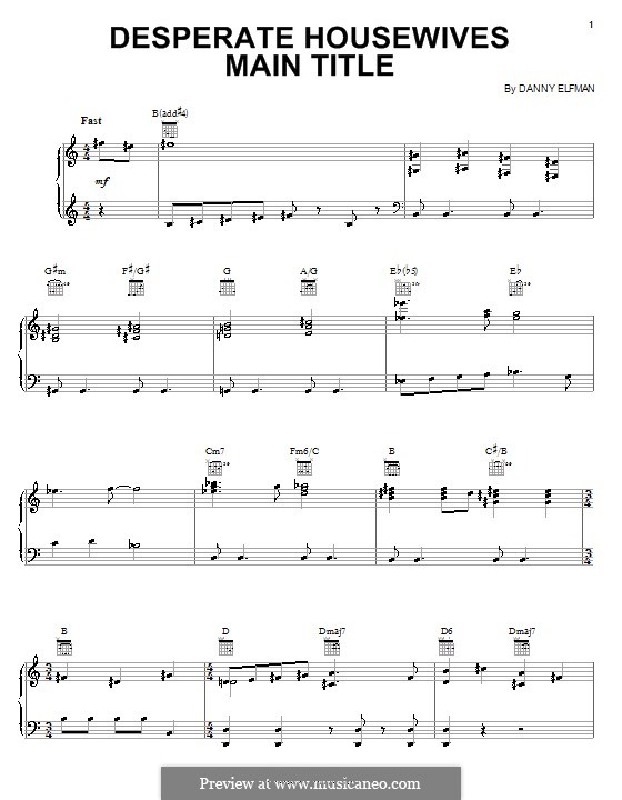 Desperate Housewives (Main Title): For piano by Danny Elfman