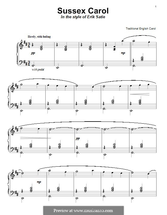 Sussex Carol: For piano by folklore