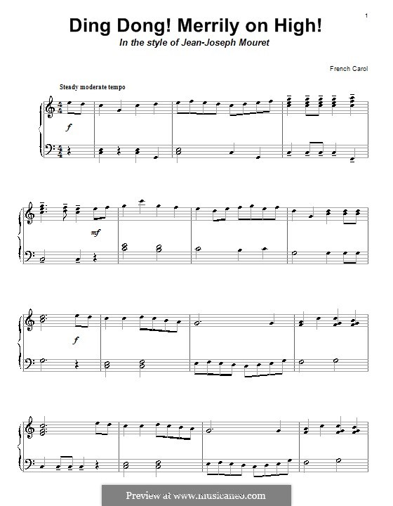 Ding Dong! Merrily on High (Printable Scores): For piano (C Major) by folklore