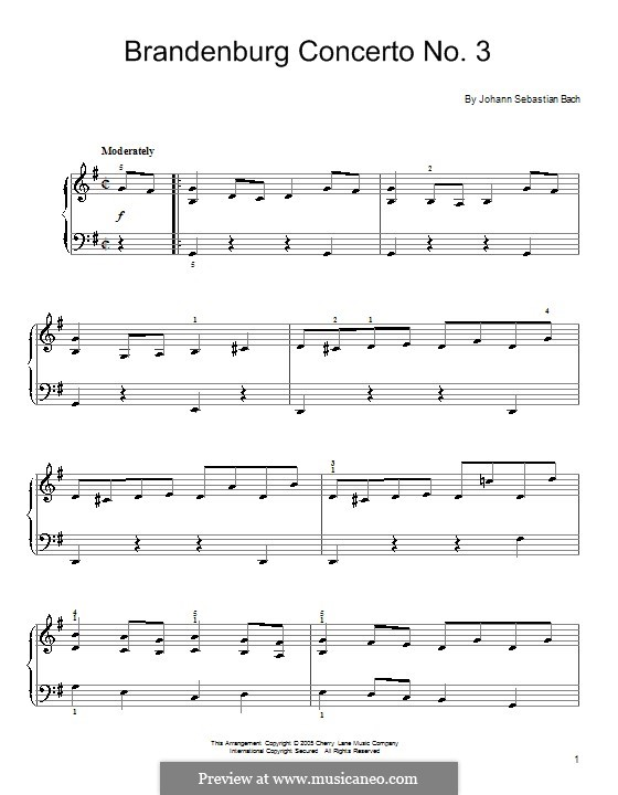 Brandenburg Concerto No.3 in G Major, BWV 1048: Movement I (Theme). Version for piano by Johann Sebastian Bach