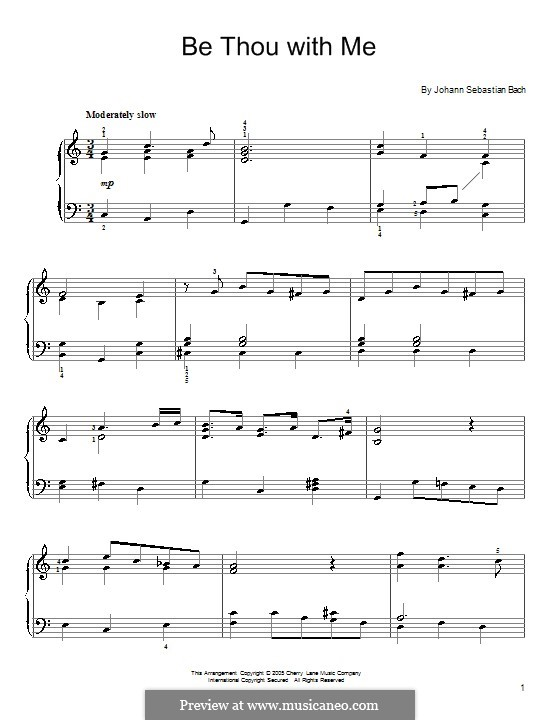 No.25 Bist du bei mir (You Are with Me), Printable scores: For easy piano by Johann Sebastian Bach