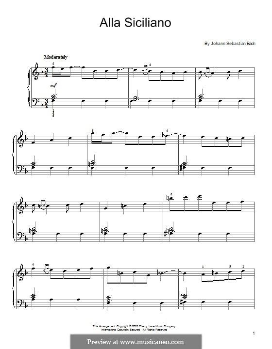 Alla Siciliano: Alla Siciliano by Johann Sebastian Bach