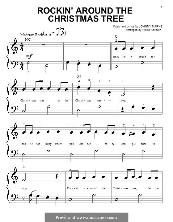 Rockin' Around the Christmas Tree: For piano (very easy version) by Johnny - Rockin' Around The Christmas Tree By J. Marks - Sheet Music On MusicaNeo