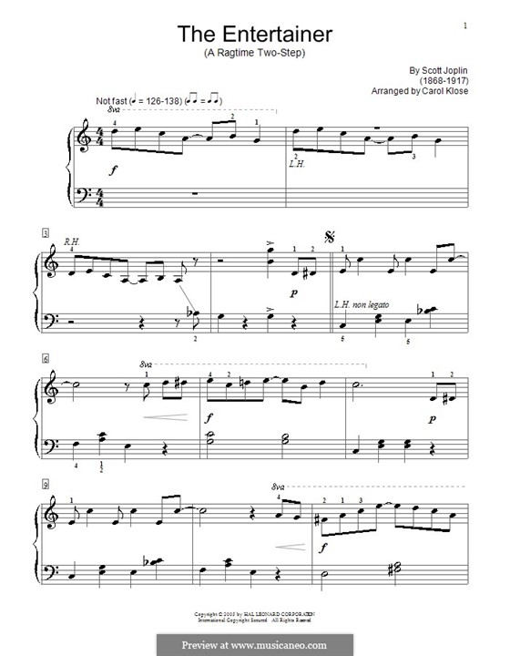 The Entertainer, for Piano: Version by Carol Klose by Scott Joplin