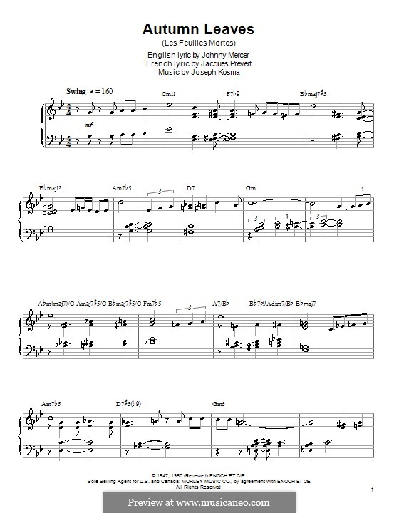 Autumn Leaves: For piano with chords by Joseph Kosma
