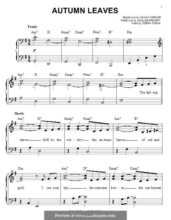 Autumn Leaves: For easy piano by Joseph Kosma