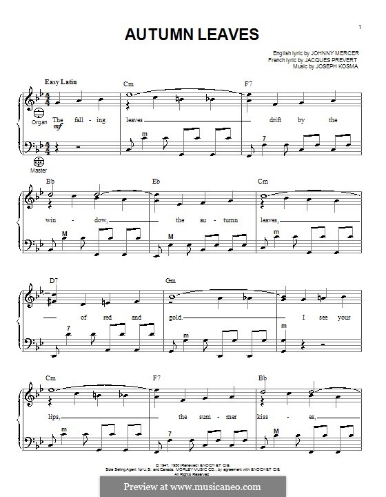 Autumn Leaves (Les Feuilles Mortes): For accordion by Joseph Kosma