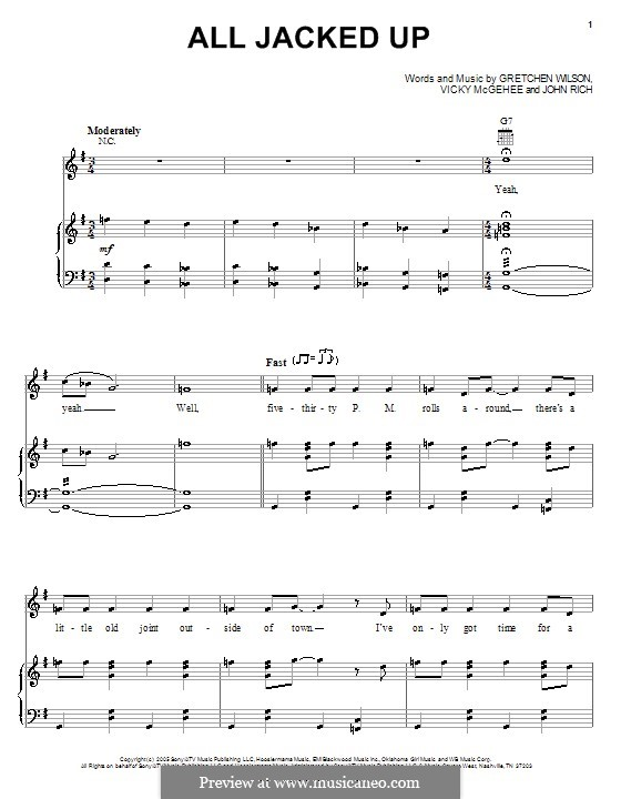 All Jacked Up (Gretchen Wilson): For voice and piano (or guitar) by John Rich, Vicky McGehee