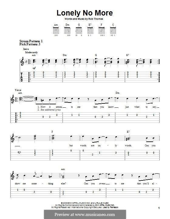 Lonely no More: For easy guitar with tabulature by Rob Thomas