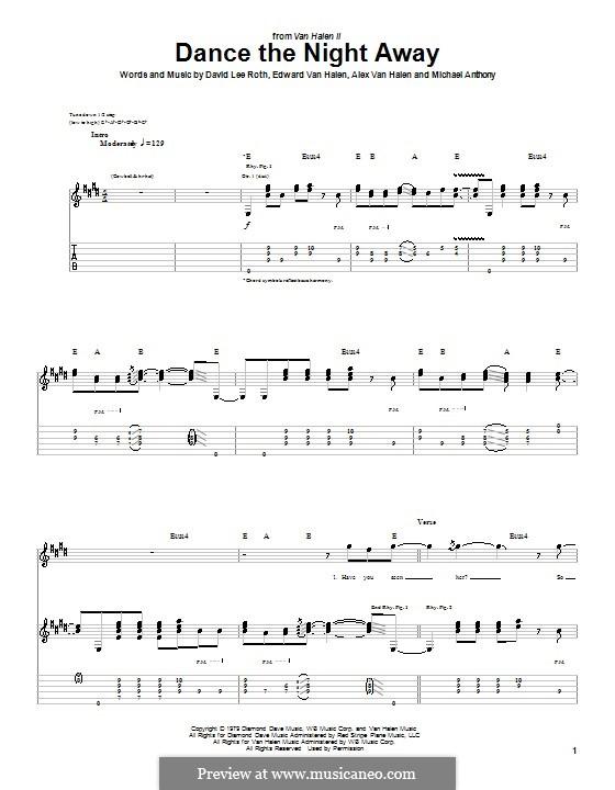 Dance the Night Away (Van Halen): For guitar with tab by Alex Van Halen, Edward Van Halen, Michael Anthony