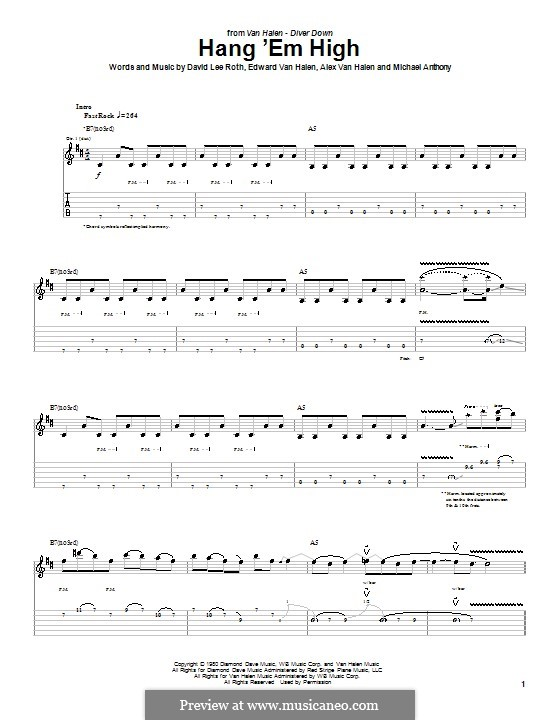 Hang 'Em High (Van Halen): For guitar with tab by Alex Van Halen, Edward Van Halen, Michael Anthony