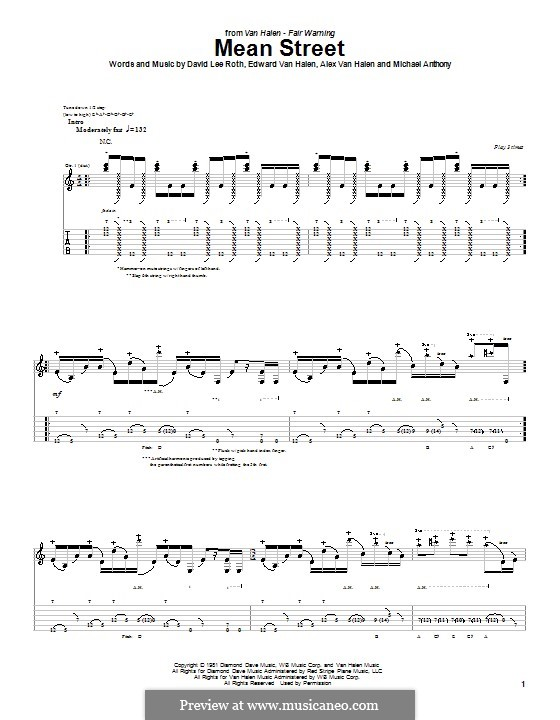 Mean Street (Van Halen): For guitar with tab by Alex Van Halen, Edward Van Halen, Michael Anthony