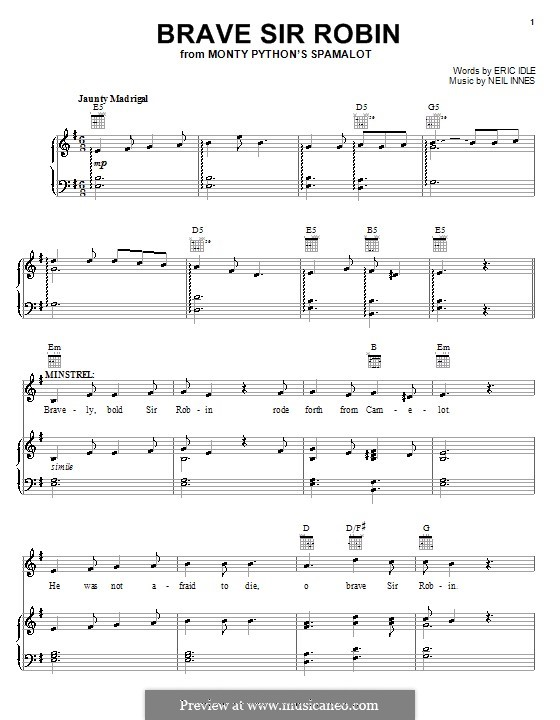 Brave Sir Robin (from Monty Python's Spamalot): For voice and piano (or guitar) by Neil Innes