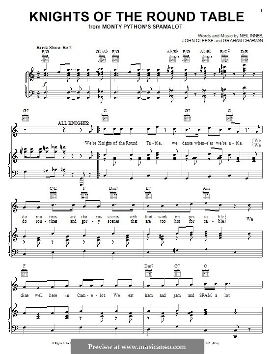 Knights Of The Round Table (from Monty Pythonu0027s Spamalot): For Voice And  Piano