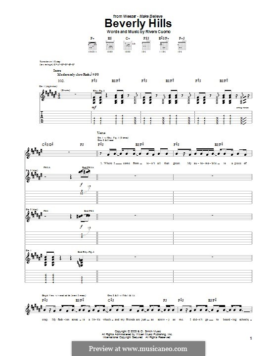 Beverly Hills (Weezer): For guitar with tab by Rivers Cuomo