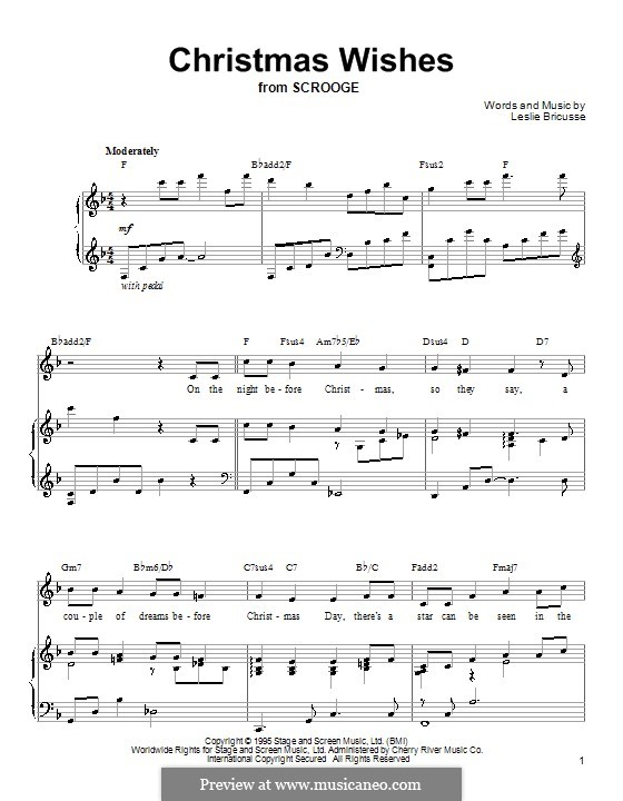 Christmas Wishes (from Scrooge): For voice and piano (or guitar) by Leslie Bricusse