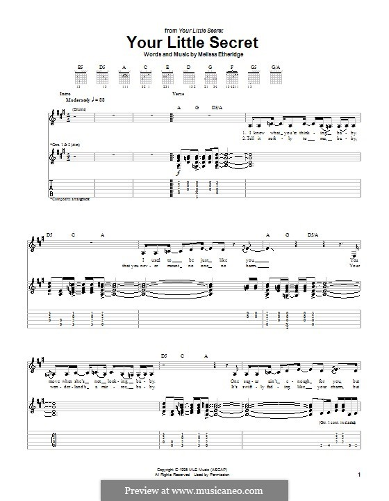 Your Little Secret: For guitar with tab by Melissa Etheridge