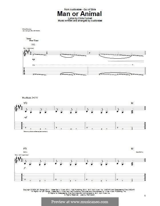 Man or Animal (Audioslave): For guitar with tab by Chris Cornell