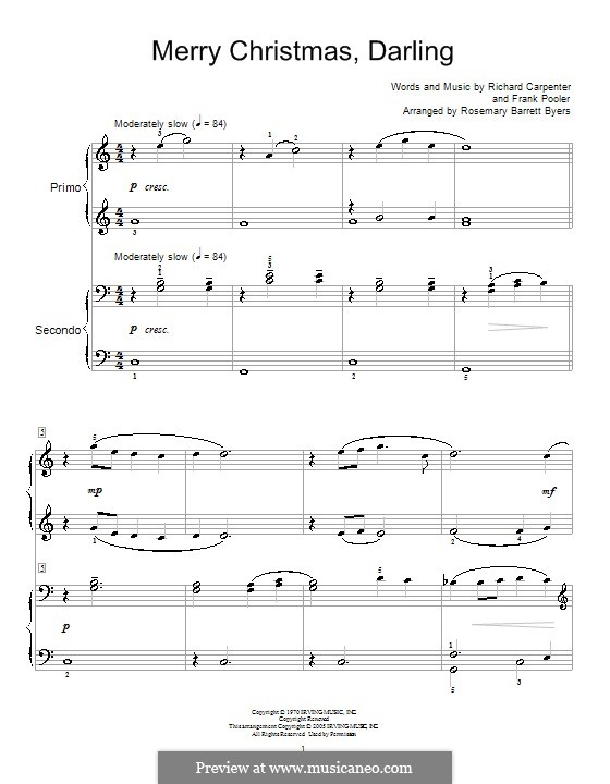 Merry Christmas, Darling (Carpenters): For piano four hands (with fingering) by Frank Pooler, Richard Carpenter