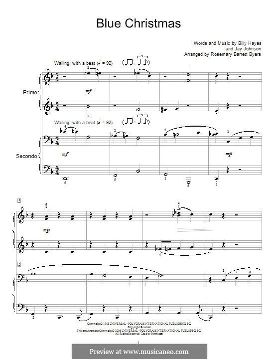 Blue Christmas, for Piano: Version for piano four hands by Billy Hayes, Jay Johnson