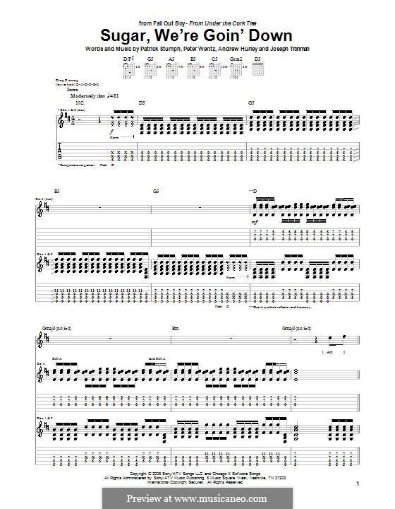 Sugar, We're Goin' Down (Fall Out Boy): For guitar with tab by Andrew Hurley, Joseph Trohman, Patrick Stump, Peter Wentz