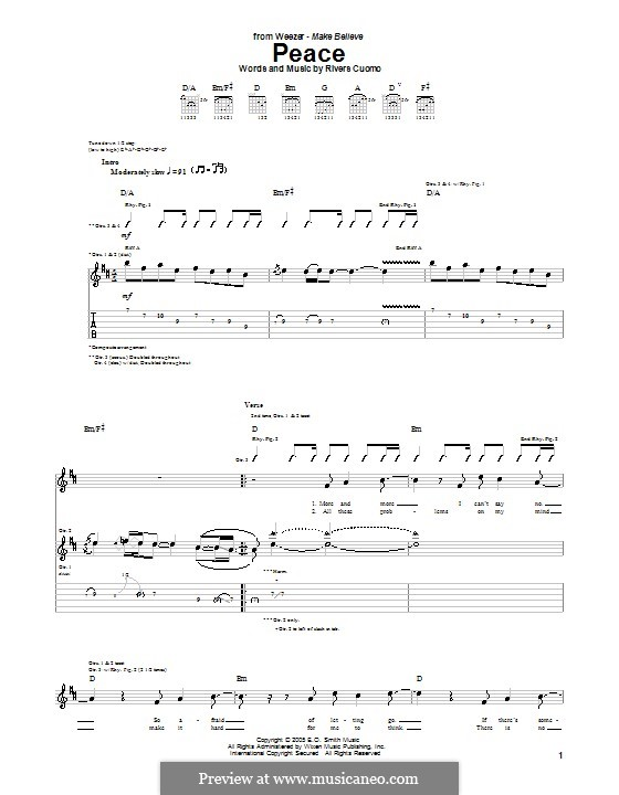 Peace (Weezer): For guitar with tab by Rivers Cuomo