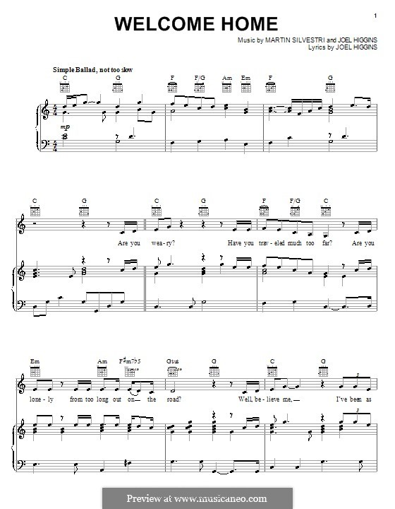 Welcome Home (from Johnny Guitar): For voice and piano (or guitar) by Martin Silvestri