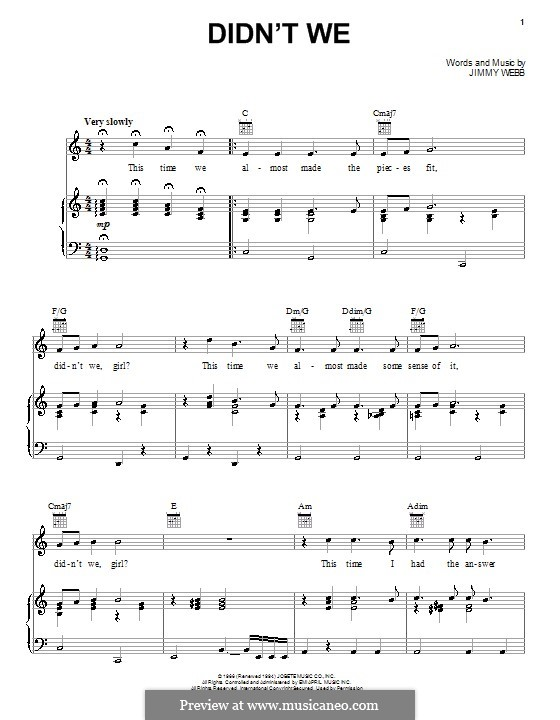 Didn't We (Frank Sinatra): For voice and piano (or guitar) by Jimmy Webb