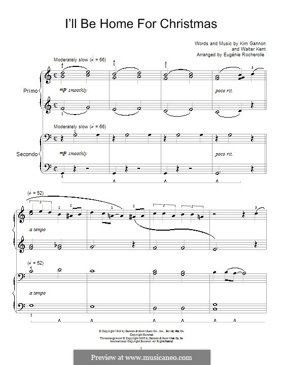 I'll Be Home for Christmas: For piano four hands (Bing Crosby) by Kim Gannon, Walter Kent
