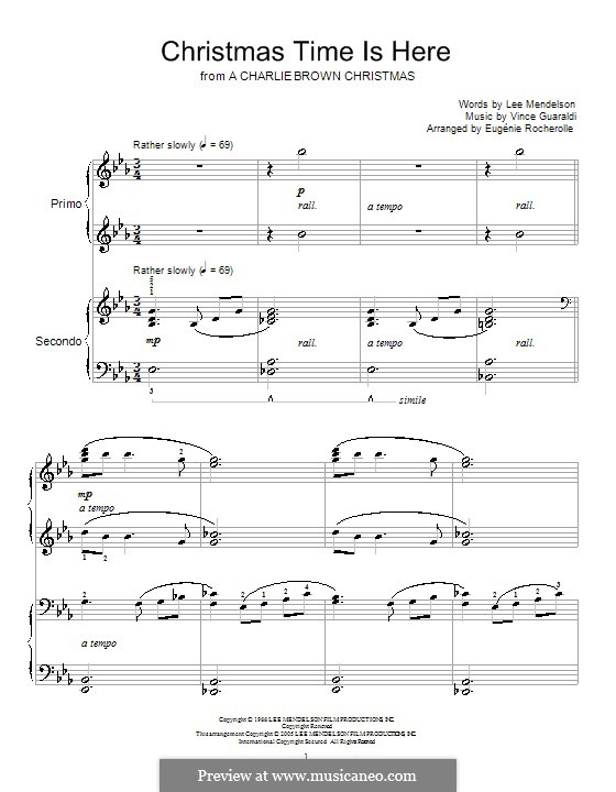 Christmas Time is Here (from A Charlie Brown Christmas), for Piano: For piano four hands by Vince Guaraldi