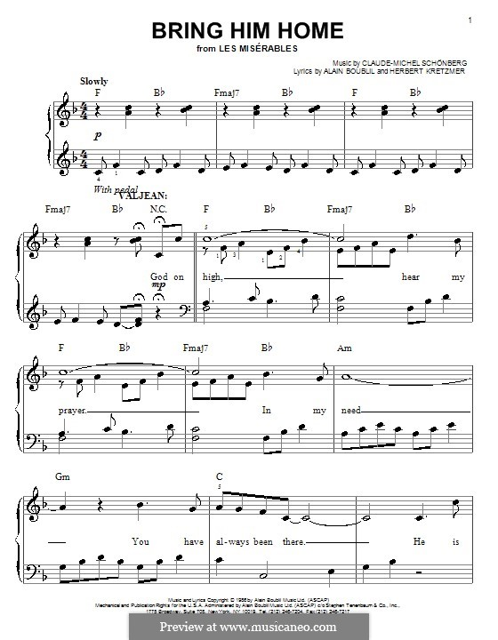 Bring Him Home: For easy piano by Claude-Michel Schönberg