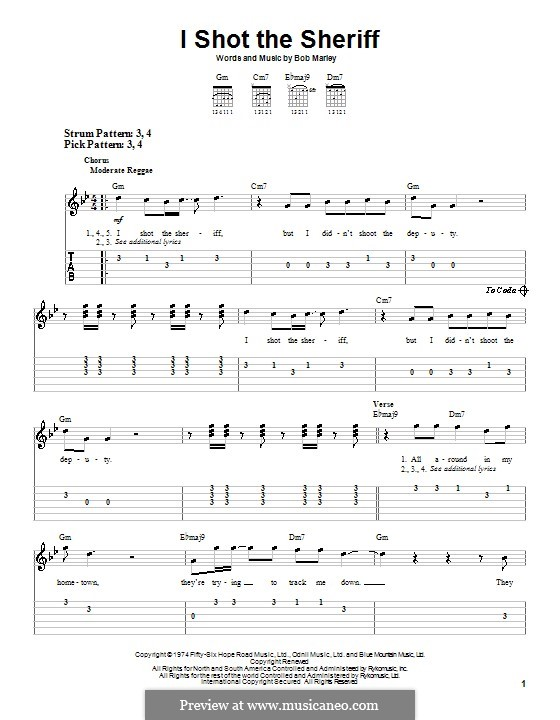 I Shot the Sheriff: For guitar (very easy version) by Bob Marley