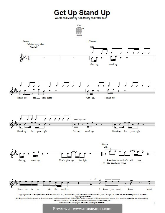 Get Up Stand Up: For guitar (with strumming patterns) by Bob Marley, Peter Tosh
