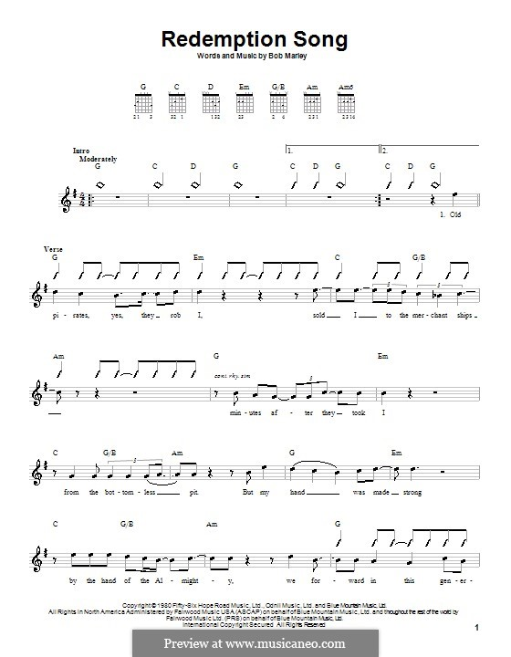 Redemption Song: For guitar (with strumming patterns) by Bob Marley