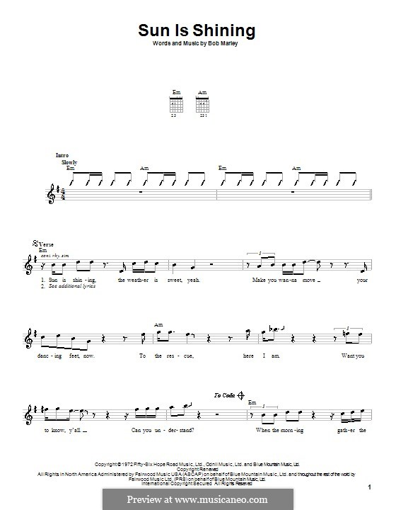 Sun Is Shining: For guitar (with strumming patterns) by Bob Marley