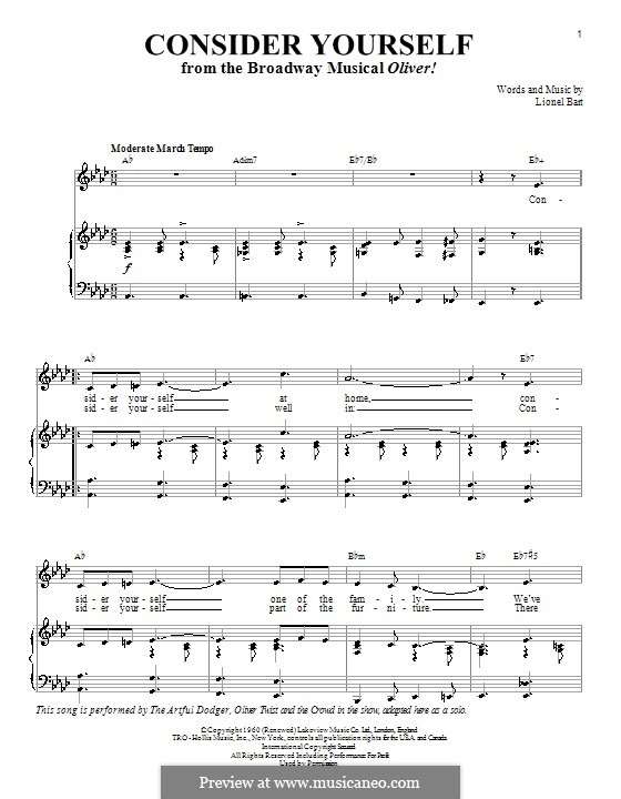 Consider Yourself (from Oliver!): For voice and piano or guitar (A Flat Major) by Lionel Bart