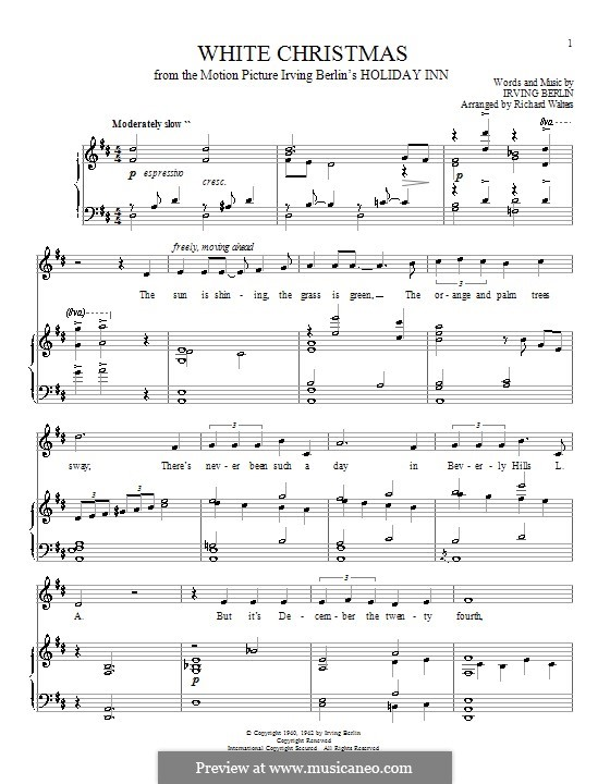 White Christmas: For voice and piano or guitar (D Major) by Irving Berlin