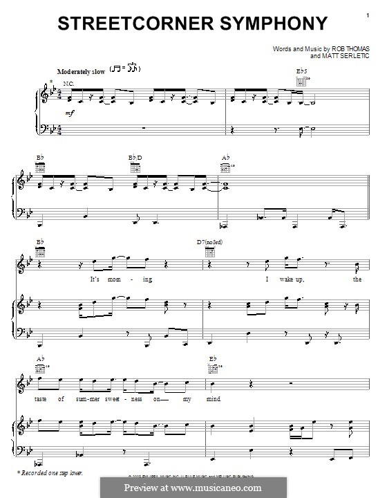 Streetcorner Symphony: For voice and piano (or guitar) by Matt Serletic