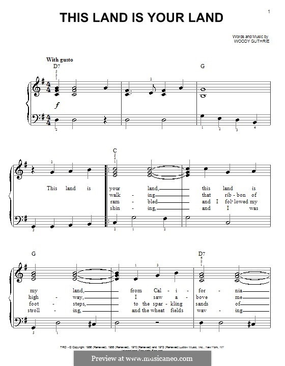 This Land Is Your Land (The New Christy Minstrels): For easy piano by Woody Guthrie