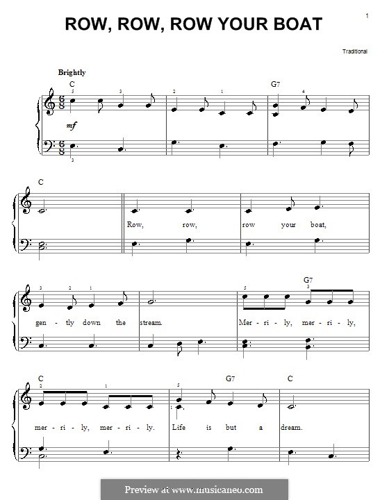 Row, Row, Row Your Boat by folklore - sheet music on MusicaNeo