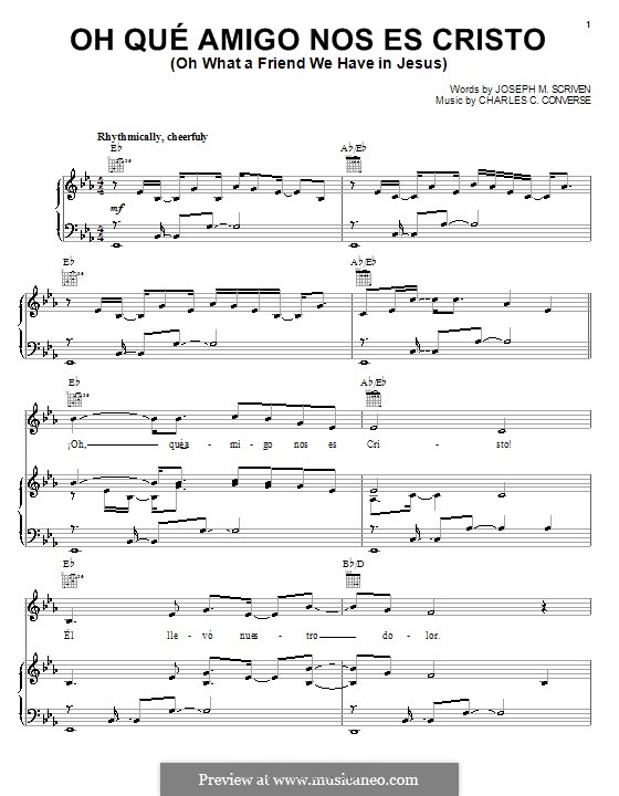 What a Friend We Have in Jesus (Printable): For voice and piano (or guitar) E Flat Major by Charles Crozat Converse