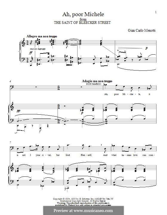 The Saint of Bleecker Street: Ah, Poor Michele. Version for voice and piano by Gian Carlo Menotti