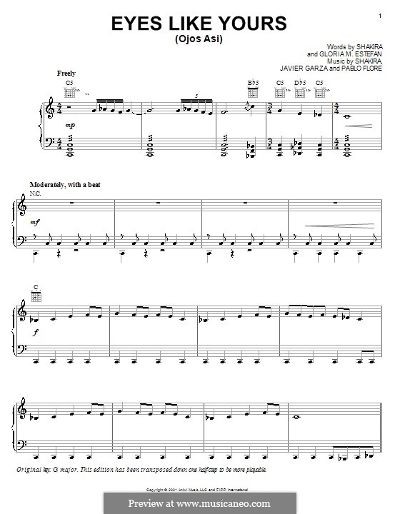 Eyes Like Yours (Ojos Asi): For voice and piano or guitar (Shakira) by Gloria M. Estefan, Javier Garza, Pablo Flores